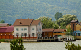 Houses on the bank of the river Volga Stock Photography