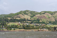 Houses on the banks of Columbia River Gorge Pacific Northwest between Oregon and Washington Stock Image