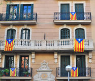 Houses of Barcelona with flag of Catalonia. Houses of Barcelona with flags of Catalonia Stock Photography