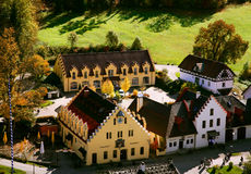Houses in Bavaria. View from castle Hohenschwangau in Bavaria Germany royalty free stock photos