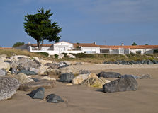Houses on the beach. Royalty Free Stock Photos