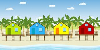 Houses on the beach. Four colorful houses on the beach Royalty Free Illustration