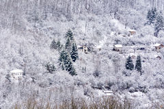 Houses in the beautiful Winter mountain Royalty Free Stock Image