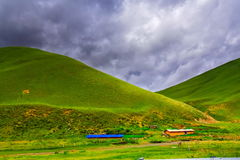 Houses below mountain in Chengdu. China Royalty Free Stock Images
