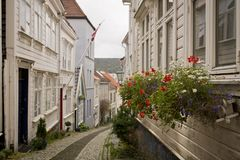 Houses in Bergen, Norway. A quiet street in the city of Bergen in Norway Royalty Free Stock Photo