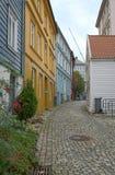 Houses in Bergen, Norway. A quiet street in the city of Bergen in Norway Stock Photo