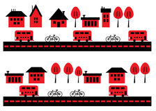 Houses, bicycles and buses Royalty Free Stock Photos