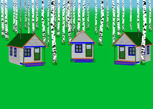 The houses in the birch forest. summer camp Royalty Free Stock Image
