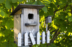 HOUSES FOR BIRDS. Wooden house for the birds on the background of foliage Royalty Free Stock Image