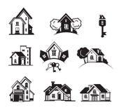 Houses black icon set Stock Image