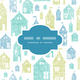 Houses blue green textile texture frame seamless Royalty Free Stock Image