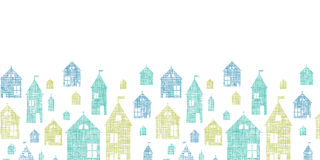 Houses blue green textile texture horizontal Royalty Free Stock Photos