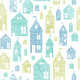 Houses blue green textile texture seamless pattern Royalty Free Stock Photography