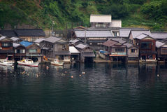 Houses with boat garage in Japan. Houses built on the water's edge with boat garages in Ine, Kyoto, Japan Stock Photo