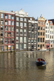 Houses and Boats on Amsterdam Canal. Holland Stock Image