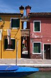 Houses and boats on Burano Royalty Free Stock Photo