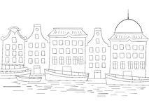 Houses boats coloring book black and white Royalty Free Stock Photo