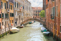 Houses and boats on one of the canals in Venice, Italy Royalty Free Stock Images