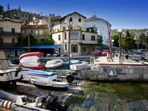 Houses and boats in port Volosko,Croatia royalty free stock images
