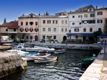 Houses and boats in port Volosko,Croatia royalty free stock photos