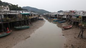 Houses and boats of Tai O Village. Hong Kong. Royalty Free Stock Photography