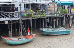 Houses and boats of Tai O Village. Hong Kong. Royalty Free Stock Images