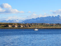 Houses and boats in Ushuaia, Patagonia Stock Image