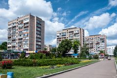 Cherkasy, Ukraine - June 02, 2013: three houses on Shevchenko boulevard. Houses on the boulevard Shevchenko, near the park `Youth` and Cathedral Square. Center royalty free stock photography