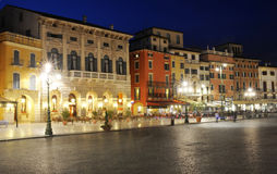 Houses on Bra square at Verona. On Italy Royalty Free Stock Image