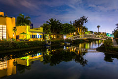 Houses and bridge along the Venice Canals at night  Royalty Free Stock Image