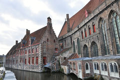 Houses in Bruges, Belgium. Bruges houses placed on a water, Belgium Royalty Free Stock Photos
