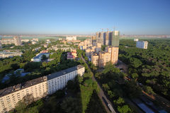 Houses and building in small district of Moscow Royalty Free Stock Photos