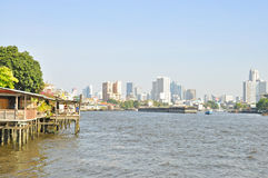 Houses and buildings along the Chao Phraya River. Royalty Free Stock Photos