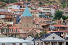 Houses and buildings on hillside in old town, Tbilisi, Georgia Stock Image