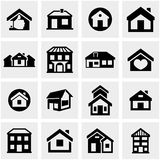 Houses and buildings icons set. Real estate. Royalty Free Stock Images