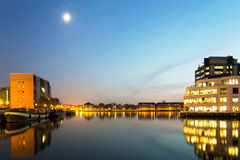 Houses and buildings on Saint Katherine Docks at night time Royalty Free Stock Image