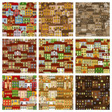 Houses and buildings seamless patterns set Stock Photo