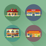 Houses and buildings set flat style. Living, shop, supermarket, coffee Stock Photography