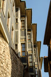 Houses built on the fortress wall in the old Plovdiv Stock Photography