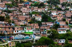 Houses in Medellin, Colombia. Houses built into hillside of District 13 in Medellin, Colombia stock image