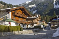 Free Houses Built In The Traditional Tyrolean Style. Mayrhofen, Austria. Royalty Free Stock Images - 124886669