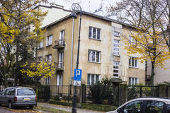 Houses built in the twenties and thirties of the twentieth century in city Warsaw , Poland. Royalty Free Stock Photos
