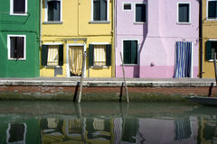 Houses in Burano Island Stock Images