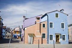 Houses in Burano Island Stock Image