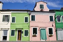 Houses in Burano Island Stock Image