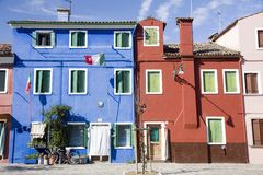 Houses in Burano Island Royalty Free Stock Photography