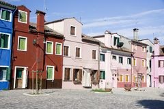 Houses in Burano Island Royalty Free Stock Image