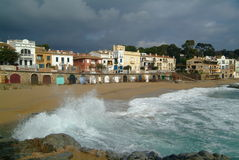 Houses in calella de Palafrugell. The costa brava coastline with fisherman houses Stock Photos