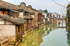 Houses on Canal. In China with water reflection Stock Image