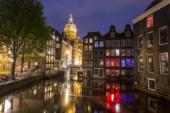 Houses and canal in Amsterdam, The Netherlands Stock Photos